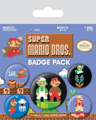 Super Mario Bros. pack 5 badges